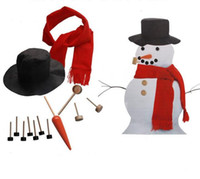 Wholesale models scarfs for sale - Group buy Wooden Simulation Dress Up Snowman Kit Christmas Decor Accessories Set Kit Snowman Eyes Nose Mouth Pipe Buttons Scarf Hat W956