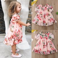 Wholesale baby girl rose lace dress resale online - Summer Kids Girls Princess chiffion rose floral tutu Dresses Baby Party Dress Children Clothes