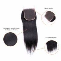 kraliçe insan saçı uzantıları toptan satış-Şanslı Kraliçe Düz İnsan Saç 3 Demetleri Ile 6 * 6 Kapatma Brezilyalı Saç Örgü Demetleri Doğal Renk Remy Saç uzatma