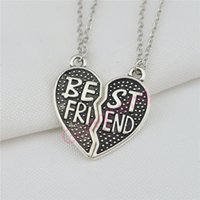 pendentifs de navire ami achat en gros de-Mode deux lettres coeur meilleur ami collier bon ami collier amitié pendentif collier wholsale livraison gratuite