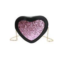сумки с сердечком оптовых-хорошее качество искусственная кожа женщины сумка девушка Bling Tote Crossbody сумка Bling сумки в форме сердца Messenger сумки дизайнер Bolso
