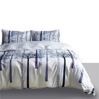 Wholesale tree king size bedding sets resale online - 90g Printed Duvet Cover sets Twin Queen King Size White Trees Beddingset Duvet Cover Pillowcases Bedding Sets