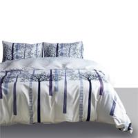 juegos de cama de árbol rey al por mayor-Conjuntos de funda nórdica impresa de 90 g Juegos de cama Twin Queen King Size White Trees 3 PCS (1 Funda de edredón + 2 fundas de almohada) Juegos de cama