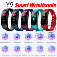 Wholesale heart rate blood pressure resale online - 2019 Newest Y9 Smart Bracelet Sport Wristband Heart Rate Monitor Activity Fitness Tracker for Android iOS with packing