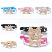 Wholesale leather dog collars leashes online - 7 Colors Rhinestone Bow Tie Geniune Leather Pet Dog Collar Dog Leash Lead Tools Training Snake Collars Dog Pet Supplies