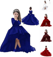 Wholesale wedding shop line resale online - Elegant Dress Shop Hi Low Flower Girl Dress First Communion Dress with Long Sleeves Formal