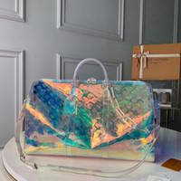en iyi çanta çantaları toptan satış-Yeni lüks 50 cm çanta klasik tasarımcılar pvc Şeffaf baskı renk duffle bagaj omuz çantaları en kaliteli tote hobo m53271 ücretsiz
