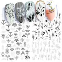envoltórios de pregos brancos venda por atacado-Preto Branco 3d Nail Sticker Floral Jóias Geometria Adesivo Wraps Completa Tatuagens Dicas Nail Slider Decoração Manicure SAF564-573
