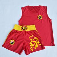 Wholesale combat suit resale online - Muay Thai Boxing Jersey Shorts Set Embroidered Dragon Free Combat Kick boxing Top Trunks Training Suit Sport shorts WEAR