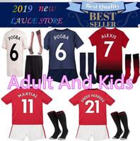 82d2d3403 Men kids manchester SOCCER JERSEY 2018 19 Adult kit +SOCKS POGBA ALEXIS  LUKAKU KITS MAILLOT DE FOOT UNITED football shirt KITS with socks