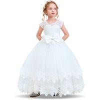 ingrosso guanti blu vestito-Flower Girl Wedding Dress Bambini Abiti per ragazze Festa di laurea Ragazza Abiti Lace Bow Bambini Ragazze adolescenti Fancy Long Gown