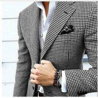 gewebter anzug großhandel-Mens Checkered Suit Houndstooth Maßgeschneiderte Männer Anzug Jacken Maßgeschneiderte Casual Männer Anzüge Duotone Weave Hounds