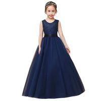 mavi tül çiçek kız elbisesi toptan satış-Lacivert Tül Dantel Çiçek Kız Elbise ile 2019 Jewel Boyun Çocuklar Akşam Balo Abiye Kat Uzunluk Communion Elbise