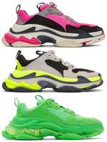 sapatos de couro usados venda por atacado-Verde Triplo S Sapatilhas Velho Paizinho Sapatos, Low Top Triplo-S De Couro Lustrado e Mesh Sneakers para Mulheres Homens Uso Causal