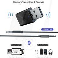 tv inalámbrica para coche al por mayor-Bluetooth 5.0 Transmisor Receptor Mini 3.5mm AUX estéreo inalámbrico Bluetooth adaptador para el coche Bluetooth Transmisor Música para TV Tools HHA106
