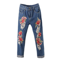 abe59d3975 Women's rose flower embroidery roll up hem crop jeans Plus size fashion  loose holes ripped denim pants Ankle length