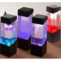 jellyfish tank al por mayor-Mesita de noche Lámpara de movimiento Lámpara de medusas Acuario Tanque LED Luz de noche de escritorio Mesita de noche Luz de noche para acuario