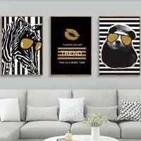 pinturas de moda vintage al por mayor-Pop Art Fashion Zebra Bear Stripe Pinturas de lona vintage Carteles Kraft vintage Pegatinas de pared recubiertas Regalo familiar decorativo