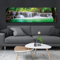 Wholesale waterfall pictures for sale - Group buy Blue Lake Canvas Painting Wall Pictures for Living Room posters and prints waterfall Landscape poster