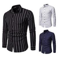 koreanische straßenmode für männer großhandel-Marke Casual Shirts Langarm 2019 Mode Korean High Street Gestreiftes Hemd Männer Baumwolle Slim Fit Männer Kleidung Schwarz Business