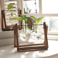 ingrosso bonsai terrarium-Vaso di vetro in legno Fioriera terrario in vetro pianta idroponica vaso di fiori bonsai con vassoio di legno Desktop Home Decor