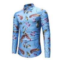 ingrosso singolo fiore piuma-Camicia uomo manica lunga stampata in stile hawaiano primavera e autunno