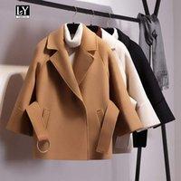 kadın ceketi yaka kemeri toptan satış-Ly Varey Lin Kadınlar Kısa Yün Ceket Kemer Ceket Turn-down Yaka Rahat Gevşek Yün Trençkotlar Kadın Artı Boyutu Giyim