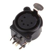 Wholesale copper connector pins resale online - Curved Pins XLR Female Connector Copper Pins Stage Light Console Microphone Audio Ground Socket Plug