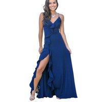 mavi çapraz elbise toptan satış-Ucuz Kadınlar Çiçek Ruffles Bölünmüş Akşam Gelinlik 2019 Seksi Criss-Cross Backless Uzun Parti Abiye Lacivert Nedime Elbiseler