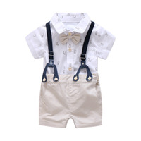 ingrosso abbigliamento formale del neonato-0-24 m vestiti neonato set formale vestito per neonato vestiti set pagliaccetto morbido manica corta + kaki bicchierini ragazzi tuta tuta bambini