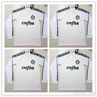 beyaz futbol üniforma toptan satış-Uzun Kollu 2019 Palmeiras ev yeşil Futbol Formaları uzakta beyaz Futbol Üniforma Futbol Gömlek Uzun Kollu Futbol Forması Satışta