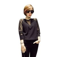 kore rengi bluz siyah toptan satış-Seksi Örgü Gömlek Örme Dikiş Siyah Gömlek Kadın Dantel Uzun kollu Blusa Kadın Bluz Ve 2019 Bahar Kore Tarzı Tops