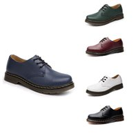 Wholesale british style casual shoe woman resale online - No Brand Low Top Martin Shoes British Tooling Style Boots Casual Mens Women Black White Red Green Blue Shoes