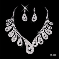 Wholesale silver jewelry for evening for sale - Group buy 2020 Elegant Silver Plated Pearl Rhinestone Bridal Necklace Earrings Jewelry Set Cheap Accessories for Prom Evening