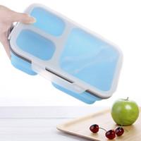 ingrosso posate azzurre-Scatole Bento Scatole colorate per il pranzo di 3 colori possono essere collocate nel microonde per riscaldare la scatola delle posate