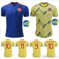 Wholesale colombia uniforms resale online - new Colombia soccer Jersey Home yellow away FALCAO JAMES CUADRADO BOCCA BACCA lady Football uniform ms