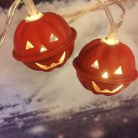 ingrosso le luci della lanterna della batteria-Zucca di Halloween LED luci della stringa a pile di vacanza festa in giardino lanterne luci di Natale di Halloween Decor