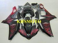 yzf r1 verkleidungskit flamme großhandel-Custom Injection Mold Verkleidungskit für YAMAHA YZFR1 07 08 YZF R1 2007 2008 YZF1000 ABS Rote Flammen schwarz Verkleidungssatz + Geschenke YF12