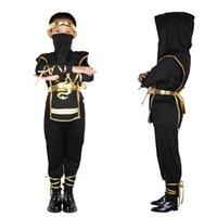 черный костюм убийцы оптовых-Дети черный ниндзя карнавальные костюмы Halloween Party Мальчики Воин Stealth Дети Cosplay Costume Убийцы Детский день