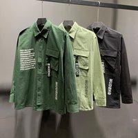 bolsillo de la camisa para hombre negro al por mayor-Nueva llegada Mens del patrón Tendencias Hombres Camisa de las correas de bolsillo Negro otoño verde Hombre de manga larga