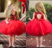 rote kleine mädchen formale kleider großhandel-Shinny Red Schöne Rote Kurze Blume Mädchen Kleider Spitze Rüschen Tüll Tutu Kleid Ballkleid Kleine Mädchen Formale Hochzeit Party Kleider