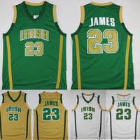 irisches basketball-trikot  groihandel-Mens LeBron James St. Vincent Mary Schule Irish Jerseys Basketball-Hemden LeBron James # 23 genähtes Jersey Günstige Shirts S-XXL