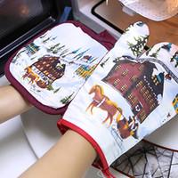 mikrowelle heiße handschuhe großhandel-Weihnachtsmikrowellenhandschuh Weihnachtsbacken Anti - heiße Handschuhe Mikrowelle Isoliermatte Tuch Küche Backformen Ofenhandschuhe