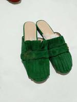 chaussures d'été fermées achat en gros de-2019 Nouvelles femmes de la mode des femmes en cuir souple pantoufles en daim occasionnels d'été vert bout fermé diapositives plat rouge flops chaussure dame grande taille 41 9 # LB19