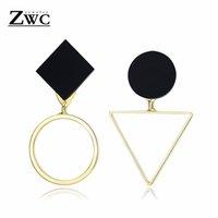 ingrosso fascini acrilici rotondi-ZWC Moda geometrica oro argento asimmetrico Stud orecchino per le donne Fascino di nozze triangolo rotondo acrilico orecchini regalo gioielli