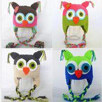 Wholesale owl design hat for sale - Group buy Baby Crochet Hat Knitted Cap Winter Beanie OWL Animal Pattern Children Animal Design Headwear Girl Kids Infant Toddler Cotton Handmade Hat
