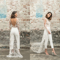 Wholesale lace weddings dresses for sale - Group buy Beach Jumpsuit Wedding Dresses Jewel Neck Long Sleeve Backless Ankle Length Bridal Outfit Lace Summer Bride Gowns