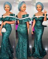 denizkızı geleneksel elbiseleri toptan satış-Güzel Aso Ebi Stilleri Dantel Abiye Kapalı Omuz Mermaid Geleneksel WeddingGuest Elbise Fermuar Arka Kat Uzunluk Balo elbise