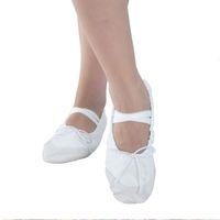 ballet peep toe al por mayor-4 colores para mujer Pisos suaves profesionales Peep Toes Zapato de baile de ballet Señoras Niñas Zapatos de danza del vientre