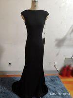 fantasia de vestido preto venda por atacado-Custom Made Fancy Lady Vestidos Formais Preto Spandex Sereia Vestido de Festa Bateau Sweep Train Backless Vestidos de Noite Espartilho